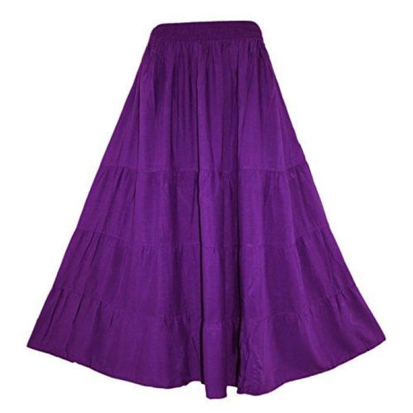 Boho Gypsy Long Maxi Tiered Skirt X-Large Plus / Purple