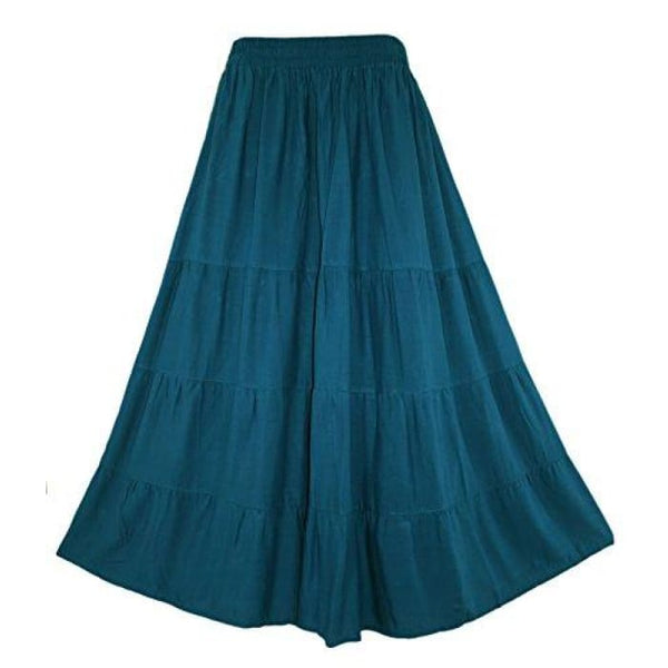 Boho Gypsy Long Maxi Tiered Skirt X-Large Plus / Teal Blue