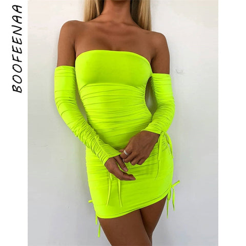 BOOFEENAA Neon Green Ruched Off Shoulder Long Sleeve Bodycon Dress Sexy Dresses Party Night Club Dresses Spring 2019 C66 AC32