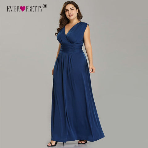 Plus Size Evening Dresses Ever Pretty V Neck Sleeveless Chiffon Formal Dress Cheap Pleated Long Robe De Soiree Abendkleider 2019