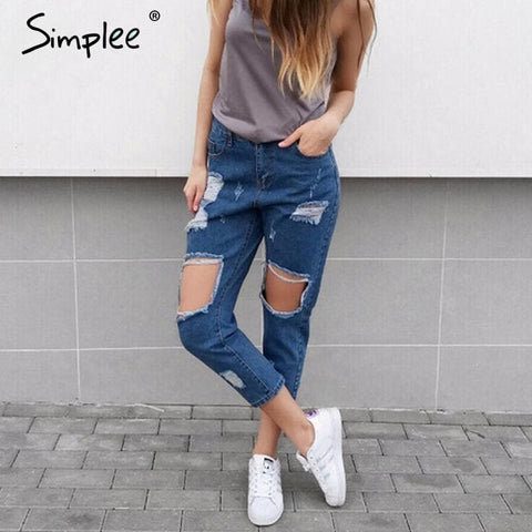 Casual Hollow Out Blue Denim Jeans Capris Vintage Summer Hole Ripped Jeans