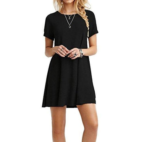 Casual Plain Short Sleeve Fit Simple T-Shirt Loose Cotton Dress 10-Black-Short-Sleeve Casual
