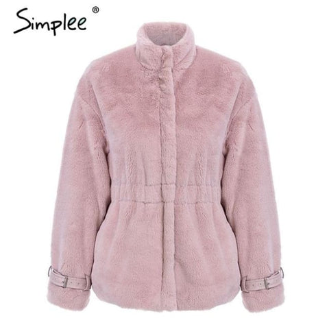 Casual Warm Thick Faux Fur Coat Nude Pink / S