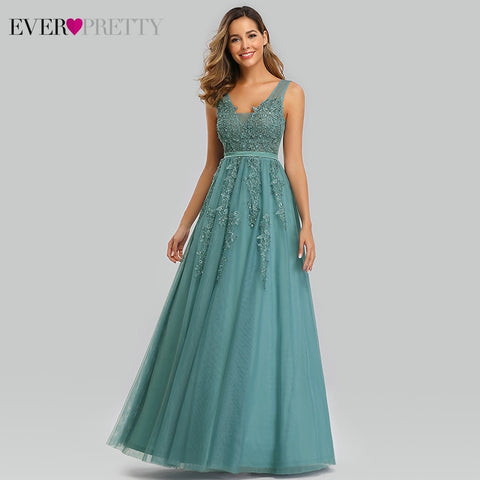 Elegant Prom Dresses Long Ever Pretty A Line Double V Neck Lace Appliques Formal Evening Party Gowns Vestidos Formatura Longo