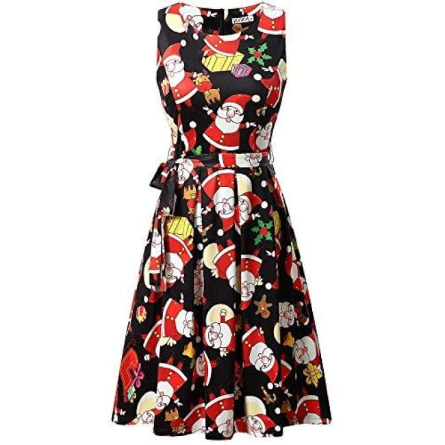846d5f8cf3 Christmas Dress Sleeveless A-Line Party Cocktail Dress Small   Black  Santa  Claus Back To