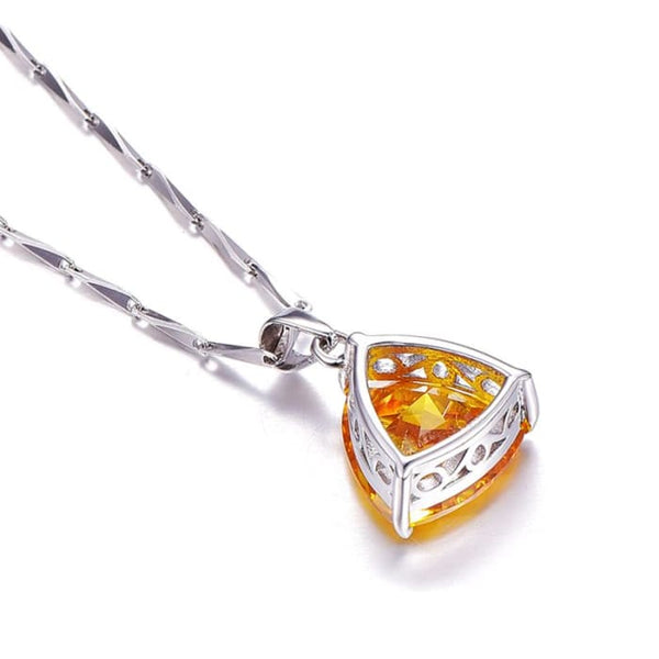 Citrine 925 Sterling Silver Womens Pendant Necklace Necklaces