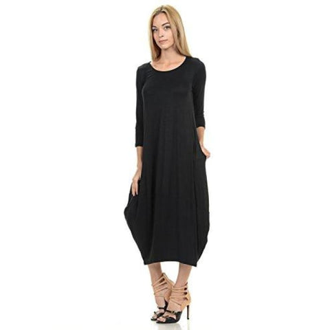 Cocoon Midi Dress With Pocket - Made In Usa (20+ Colors) Casual