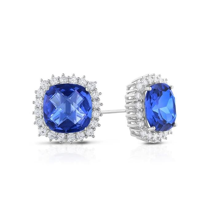 Crystal And Cubic Zirconia Cushion Shaped Earring In Rhodium Plated Brass By Natalia Drake