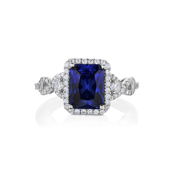 Crystal And Cubic Zirconia Radiant-Shaped Ring In Rhodium Plated Brass By Natalia Drake