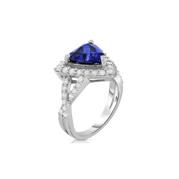 Crystal And Cubic Zirconia Trillion Shaped Ring In Rhodium Plated Brass By Natalia Drake
