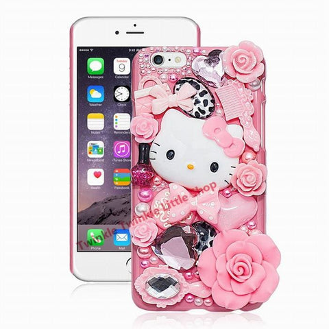Cute Hello Kitty Rhinestone Crystal Pearl 3D Case For Iphone Back Cover Phone Cases For Apple Iphone Pink / For Iphone 5 Or 5S Phone Bags &