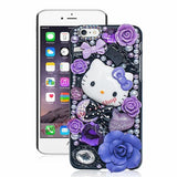 Cute Hello Kitty Rhinestone Crystal Pearl 3D Case For Iphone Back Cover Phone Cases For Apple Iphone Purple / For Iphone 5 Or 5S Phone Bags