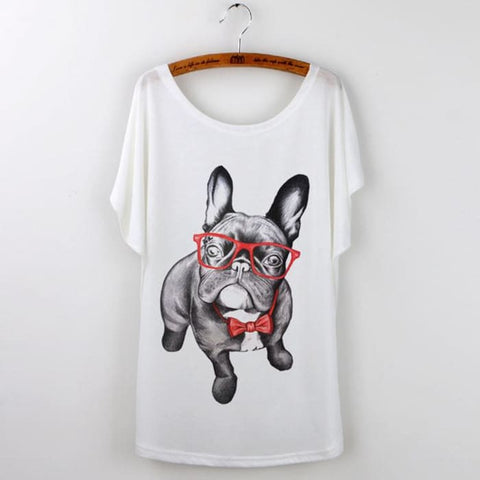 Cute Pug With Glasses Top S T-Shirts