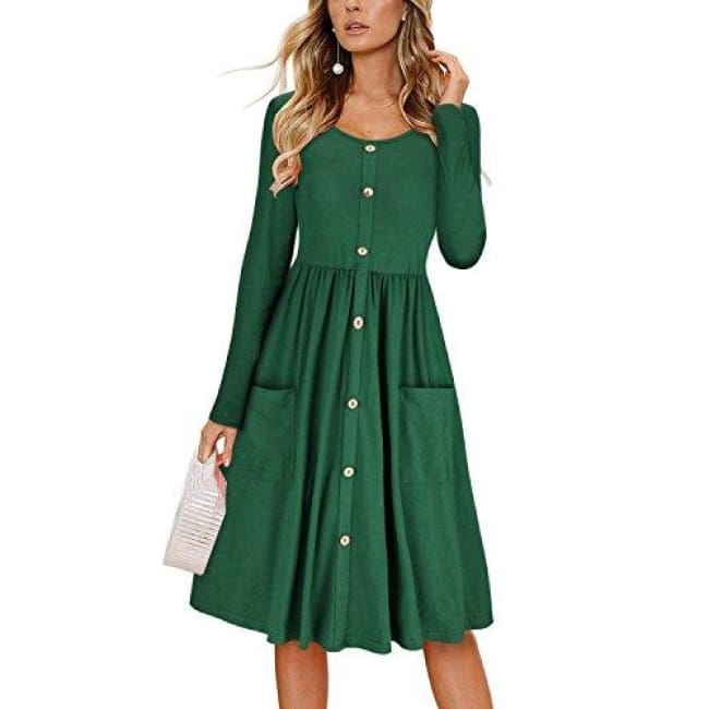 baacf82bc41 Cute V Neck Sweet Scallop Pleated Skater Dress Z-Green Dresses