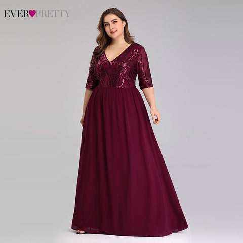 Plus Size Burgundy Evening Dresses Long Ever Pretty A Line V Neck Elegant Sequined Long Dresses For Party Robe De Soiree 2019