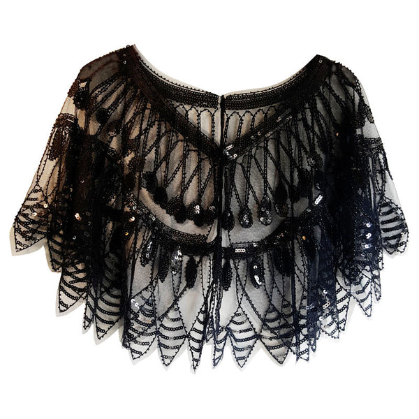 Women's Evening Shawl 1920s Gatsby Sequin Vintage Cape Bolero Flapper Cover Up