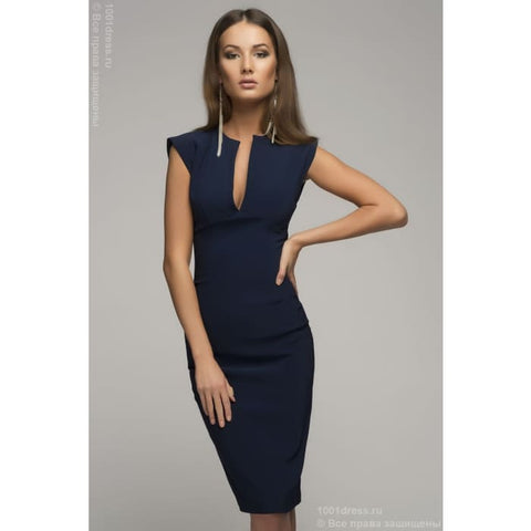 Dark Blue Dress Elegant Pencil Dress