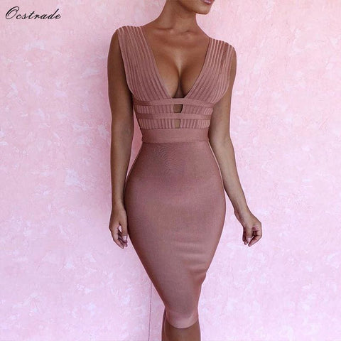 Deep V Neck Bodycon Dress Cut Out Bandage Dress Rayon High Quality