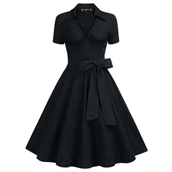 Deep-V Neck Classical Bow Belt Vintage Casual Swing Dress Small / Black-2