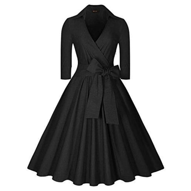 Deep-V Neck Classical Bow Belt Vintage Casual Swing Dress Small / Black
