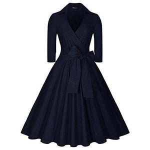 Deep-V Neck Classical Bow Belt Vintage Casual Swing Dress Small / Navy Blue