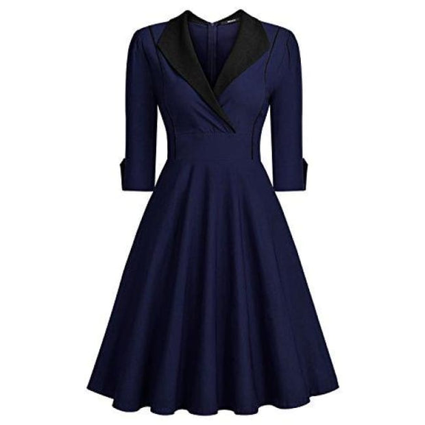 Deep-V Neck Classical Bow Belt Vintage Casual Swing Dress Small / Navy Blue&black