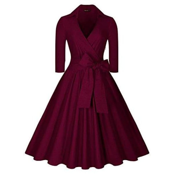 Deep-V Neck Classical Bow Belt Vintage Casual Swing Dress Small / Wine