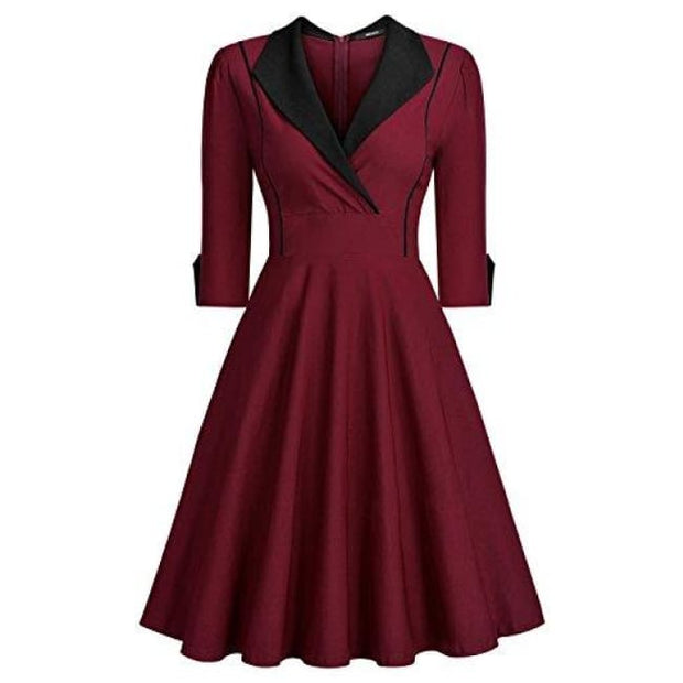 Deep-V Neck Classical Bow Belt Vintage Casual Swing Dress Small / Wine&black