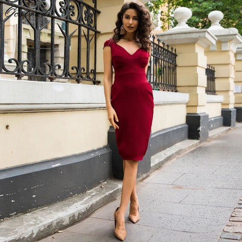 Deep-V Wine Red Ribbed Cupped Bodycon Bandage Dress