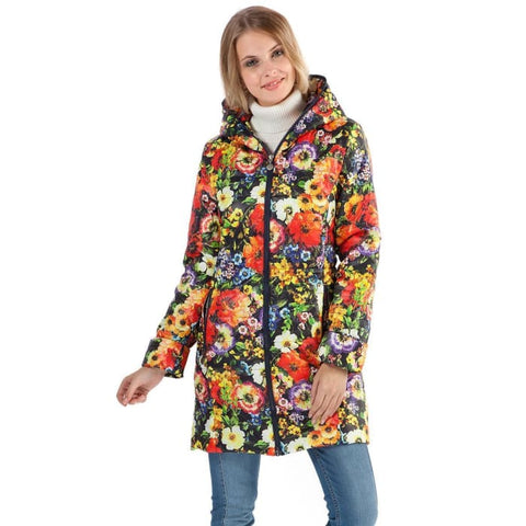 Demi-season jacket Olivia red flowers on blue