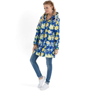 Demi-season jacket Olivia yellow flowers on blue