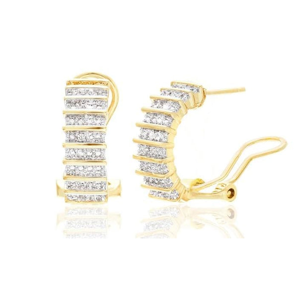 Diamond-Accent Huggie Earrings In 18K Gold Or White-Gold Plating
