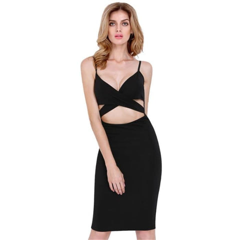Didk Summer Style 2016 Fashion Women Dresses Sexy Club Sleeveless Spaghetti Strap Cut Out High Street Sheath Knee Length Dress Black / S