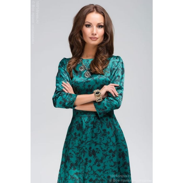 DM00266GR dress length Maxi emerald black flower ornament