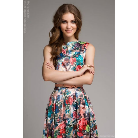 DM00281FL dress with floral print sleeveless MIDI length