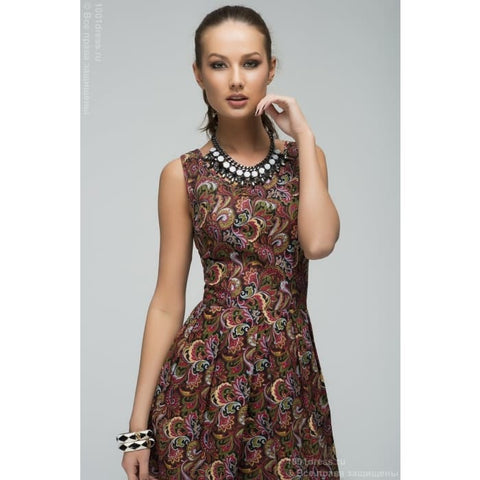 DM00282WE dress Burgundy print mini length sleeveless and a pleated skirt