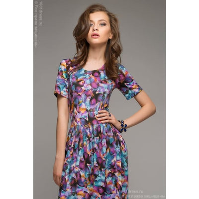 DM00285PP dress length Maxi with a purple print butterfly short sleeve