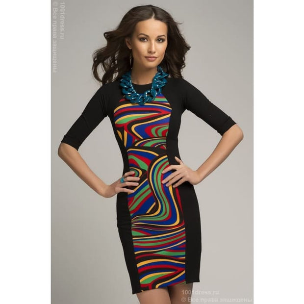 DM00336CL dress black with coloured insert and 3/4 sleeves