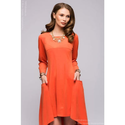 DM00600OR dress orange tiered with long sleeves