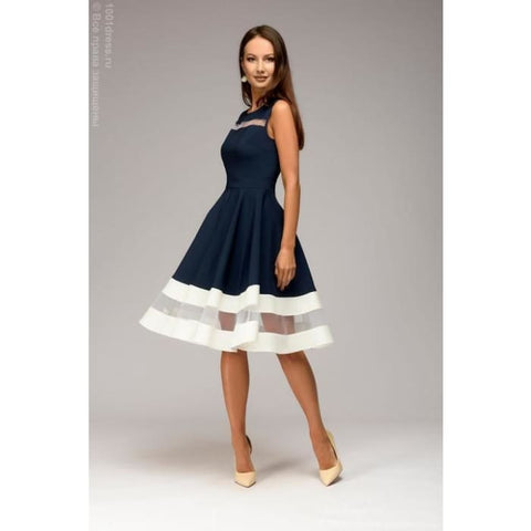 DM00843DB dress dark blue sleeveless with white trim