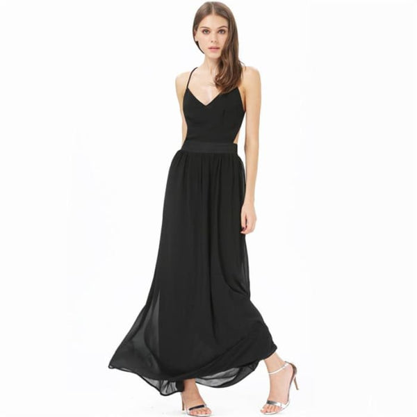 Dotfashion 2016 Summer Fashion Women Dresses Sexy Elegant Party Spaghetti Strap Backless Floral Print Maxi Dress Black / S Dresses