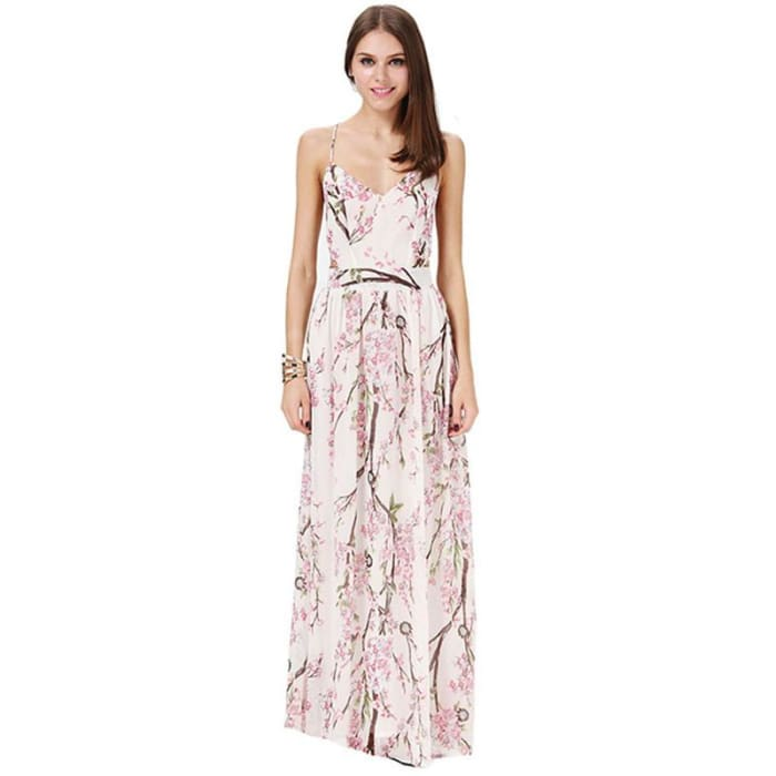 Dotfashion 2016 Summer Fashion Women Dresses Sexy Elegant Party Spaghetti Strap Backless Floral Print Maxi Dress Multi / S Dresses