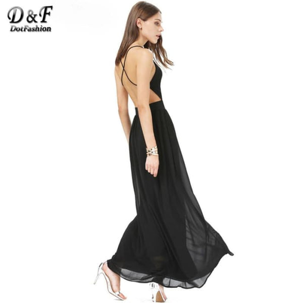 Dotfashion 2016 Summer Fashion Women Dresses Sexy Elegant Party Spaghetti Strap Backless Floral Print Maxi Dress Dresses