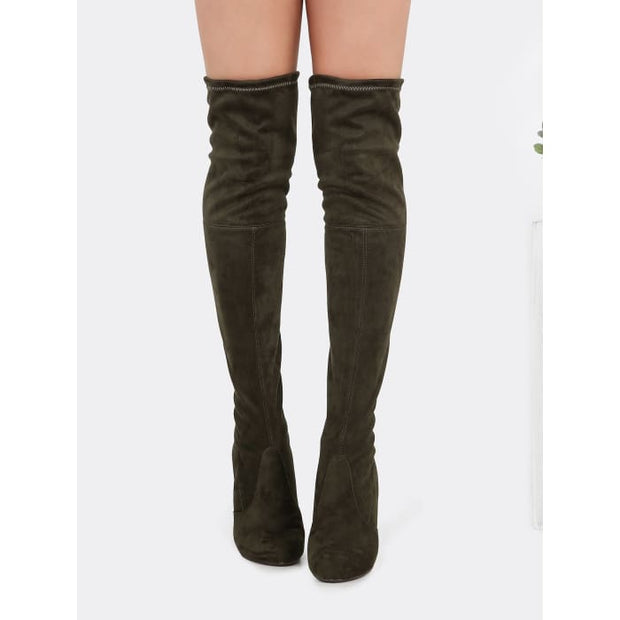 Drawstring Over The Knee Suede Boots Olive Boots