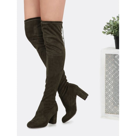 79334c42be Sainaluv - Drawstring Over the Knee Suede Boots OLIVE