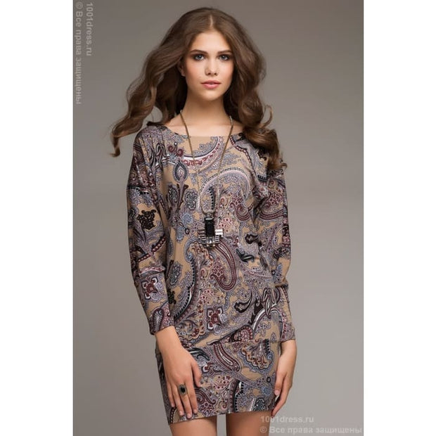 Dress DM00098PB dark beige/Paisley Dolman sleeve