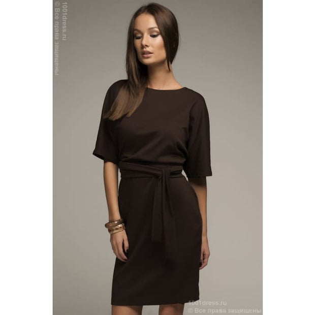 Dress DM00211BR chocolate color bat sleeve with belt