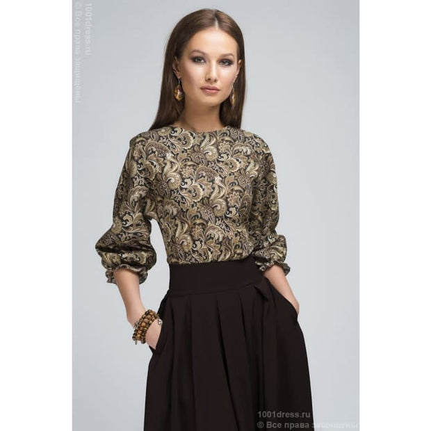 Dress DM00234BD dark brown MIDI length with a printed top and a batwing sleeve