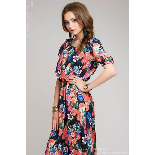 Dress DM00243BF dark blue with large floral print