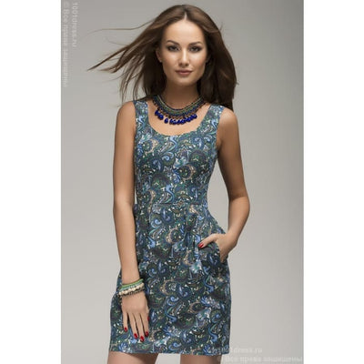 Dress DM00252BL blue print mini length sleeveless